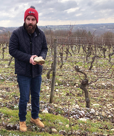 Fabien Jouves discussing the limestone terroir.