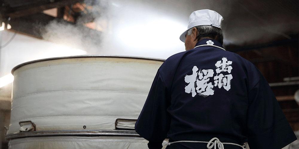 Dewazakura Sake Brewer at Work