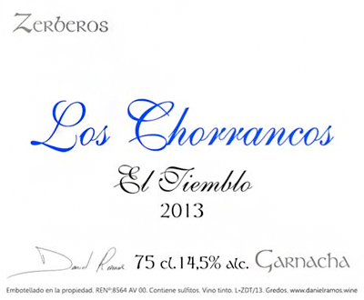 Daniel Ramos 2013 'Los Chorrancos' Garnacha, Spain (Sierra de Gredos)