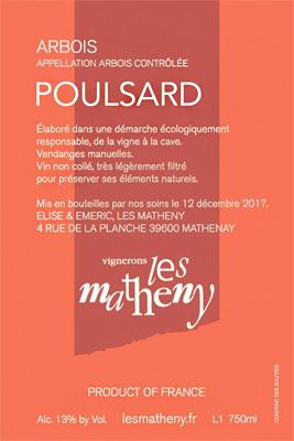 Vignerons Les Matheny 2018 Poulsard, Arbois AOC