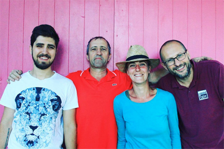 The Domaine Milan Team (from left to right): The?ophile Milan, Henri Milan, Emmanuelle Milan, and Sebastien Xavier