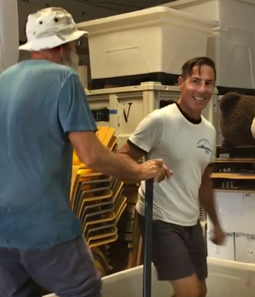 Michael Christian and Coleman Cooney Stomping Grapes