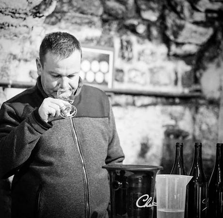Sébastien Dauvissat in the cellar checking in on the status of his beautiful Chablis.