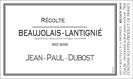 Domaine Jean-Paul Dubost 2019 Beaujolais-Lantignie AOC