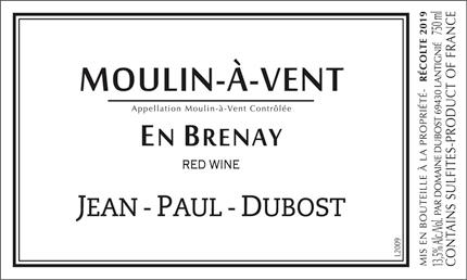 Domaine Jean-Paul Dubost 2019 Moulin-a-Vent, En Brenay, AOC