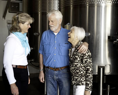 Winemaker Heidi Peterson-Barrett and Owners, Ren & Marilyn Harris