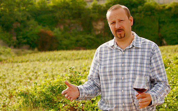Jean-Marie Fourrier in his vineyards overlooking Gevrey-Chambertin (photo by Owen Franken for The New York Times)