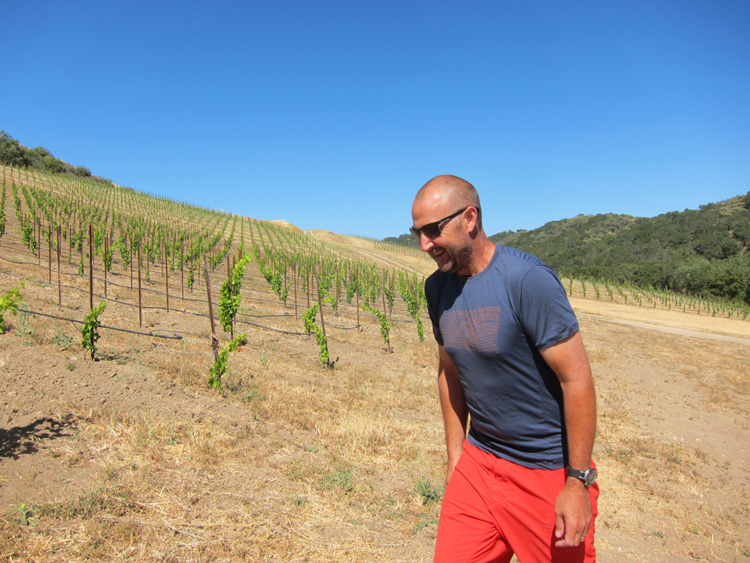 Cris Cherry in his Grenache vineyard at Villa Creek