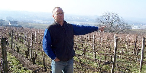 Michel Gahier in one of his vineyard in Jura