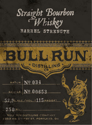 Bull Run Distilling Co. Straight Bourbon Whiskey Barrel Strength (115 proof)