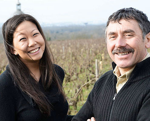 Sarah Hwang with Winemaker Jean-Bernard Berthomé
