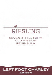 Left Foot Charley 2013 Riesling, Seventh Hill Farms, Old Mission Peninsula