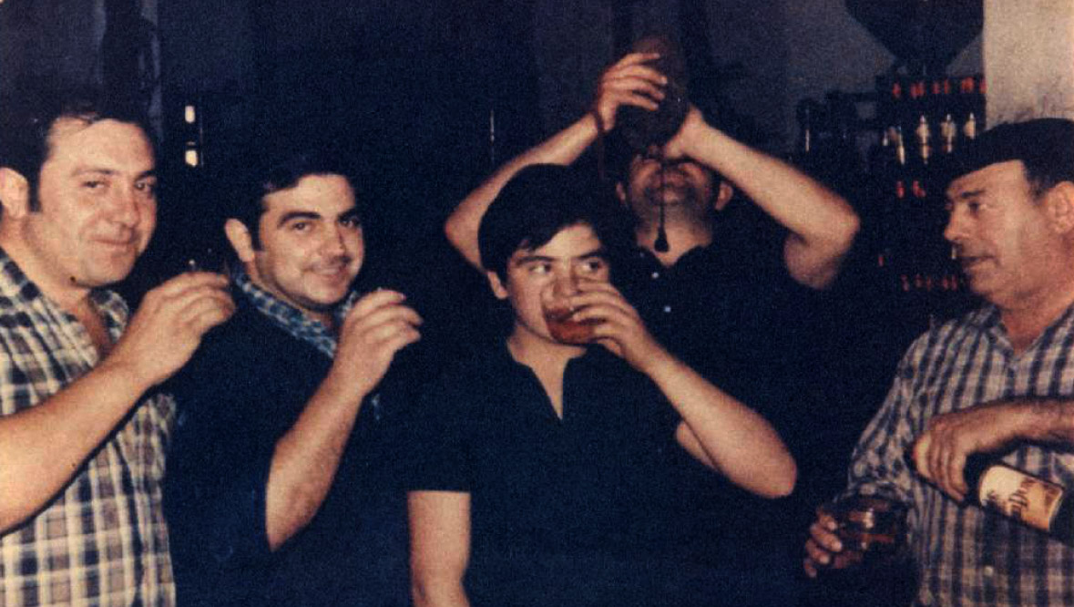Taken in 1969, Vicente (left), next is Jose Maria, next Patxi (son and now winemaker) and Patxi (father) and the Errasti Grandfather
