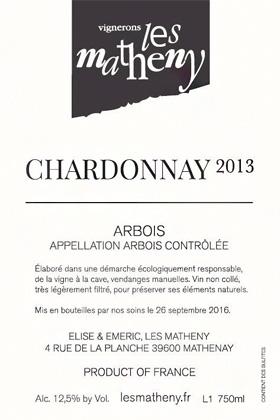 Vignerons Les Matheny 2015 Chardonnay, Arbois AOC