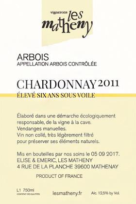 Vignerons Les Matheny 2012 '6 Ans Sous Voile' Chardonnay, Arbois AOC