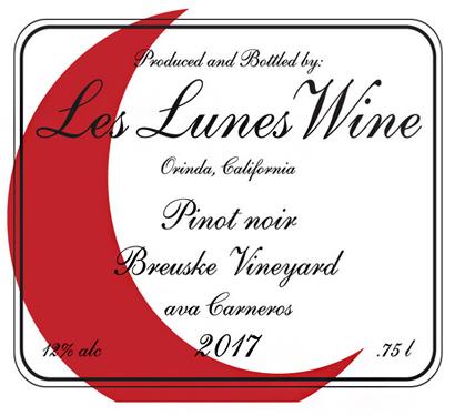 Les Lunes Wine 2017 Pinot Noir, Brueske Vineyard, Carneros