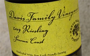 Davis Family Vineyards 2009 Riesling, Sonoma Coast (Library Release)