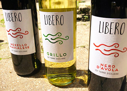 Libero wines produced in Sicily from native grapes.