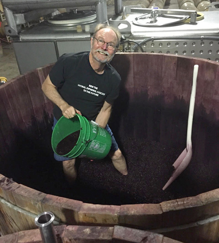 Joel Peterson in his Redwood Vats during the 2014 Vintage