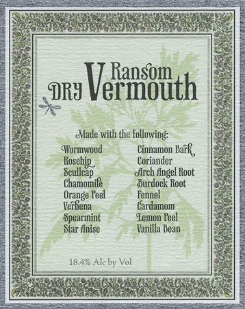 Ransom Wines & Spirits (375 ml) Dry Vermouth, Oregon (36.8 proof)