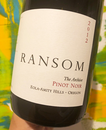 Ransom Wines & Spirits 2012 'Archive' Pinot Noir, Willamette Valley