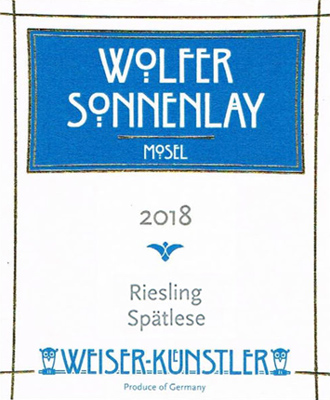 Weiser-Kunstler 2018 Riesling Spatlese, Wolfer Sonnenlay, Mosel